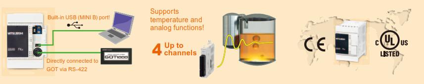 Az FX3S PLC USB programozó porttal rendelkezik, valamint analóg jelfeldolgozásra is képes.